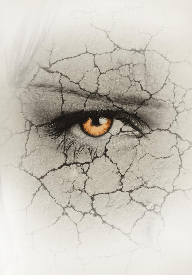 The drought. Womans face closeup with cracks. drought concept royalty free illustration