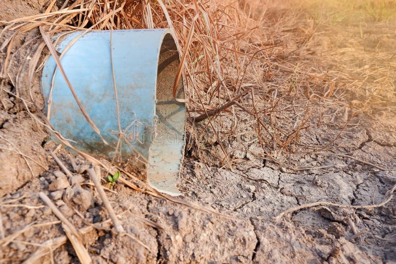 Drought in agriculture.Water pipe without water flow in a long time royalty free stock photo