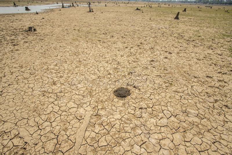 Drought, Climate change and drought land. Dam at Parched, Dry terrain, Drought, Climate change and drought land stock photography