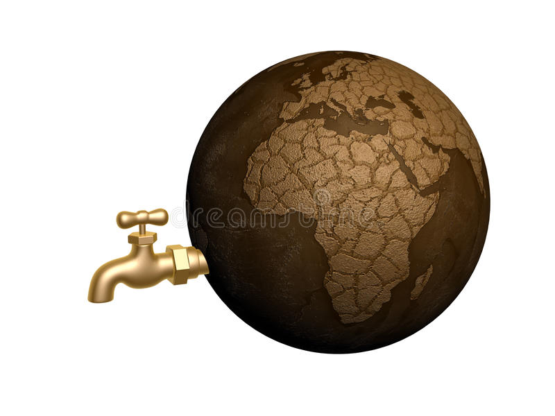 Drought earth. And golden taps isolated on white background stock illustration