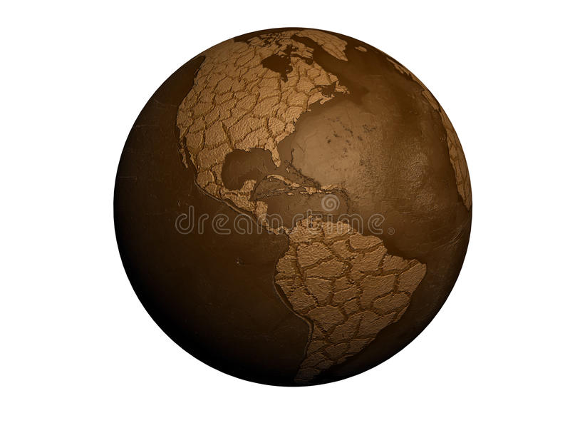 Drought earth. Globe isolated on white background royalty free illustration