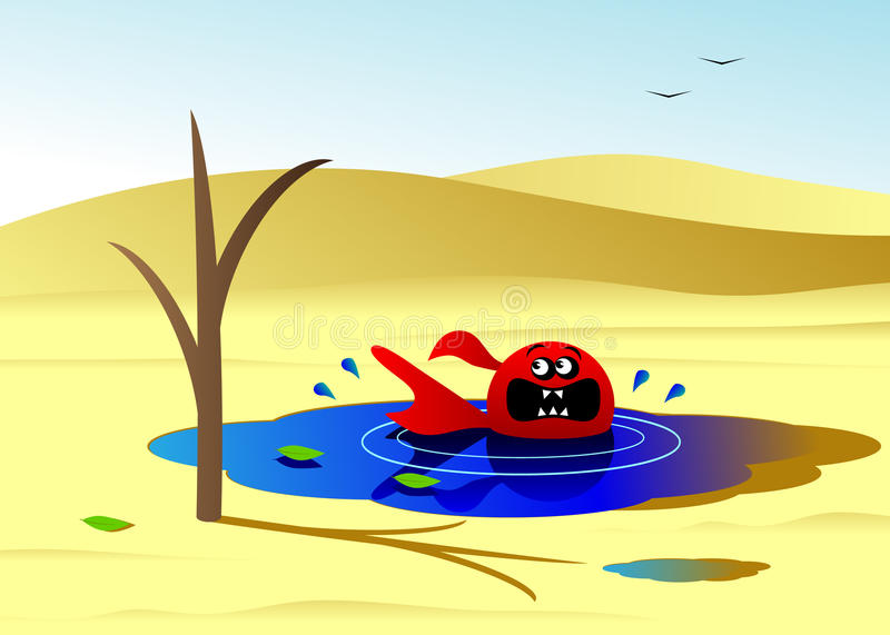 Drought. Ecology, the desert and fish in water about the dried-up tree royalty free illustration