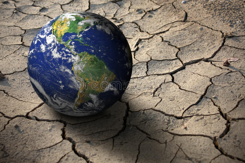 Drought on planet Earth stock illustration