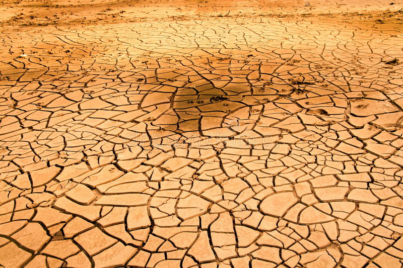 Drought soil in dry river. Hot summer stock image
