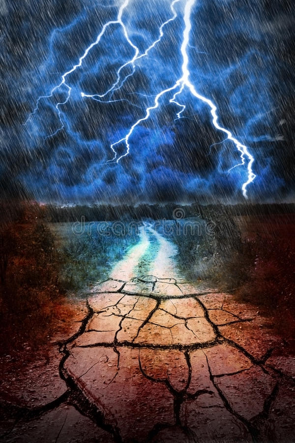 Drought vs storm. Land dry with rain land. struggle between rain and drought vector illustration