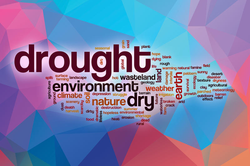 Drought word cloud with abstract background vector illustration
