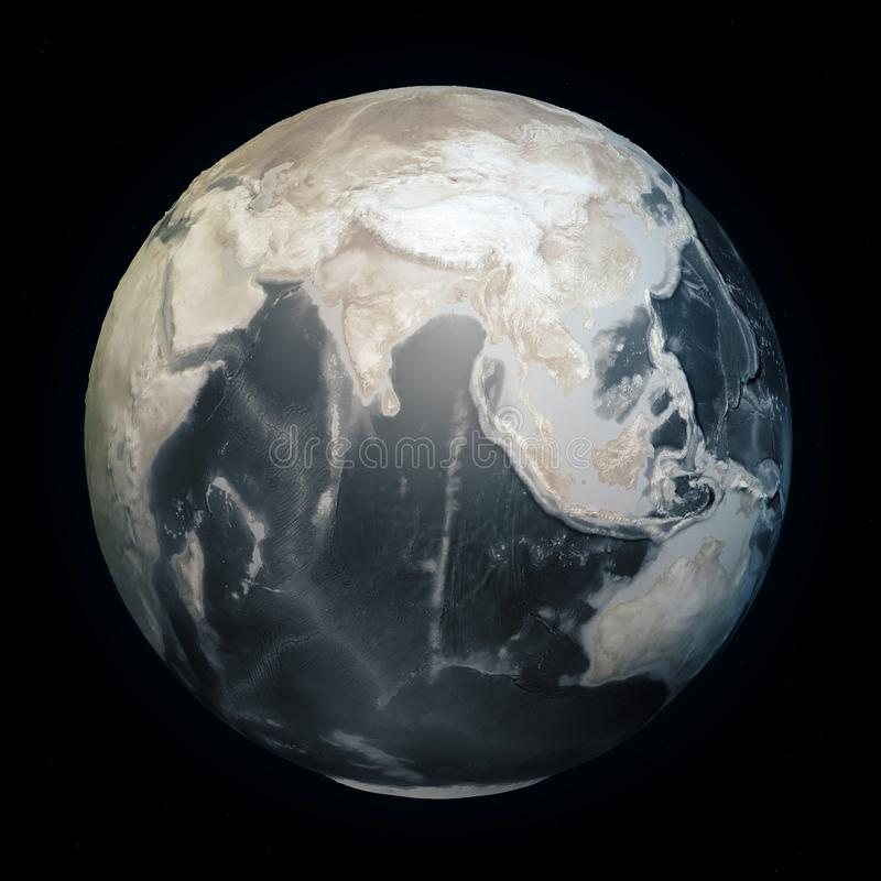 Drought in the world, dry planet earth. Climate change land without water. Seabed bathymetry with reliefs. Global warming vector illustration