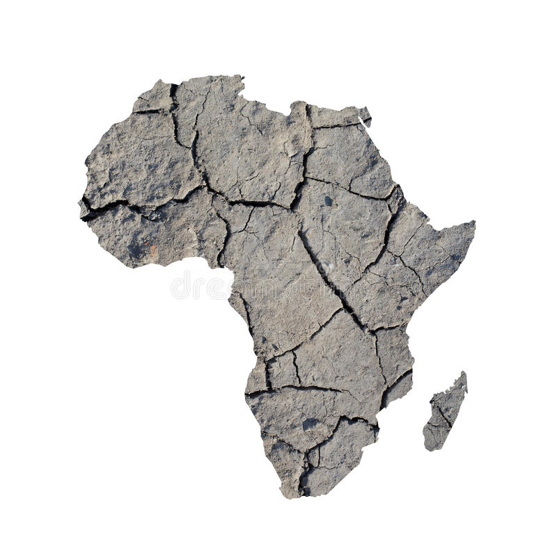 Droughts in Africa. Silhouette of Africa. Map is fulfilled with image of dry land. Metaphor of catastrophic climate changes in area - droughts, dryland royalty free stock photo