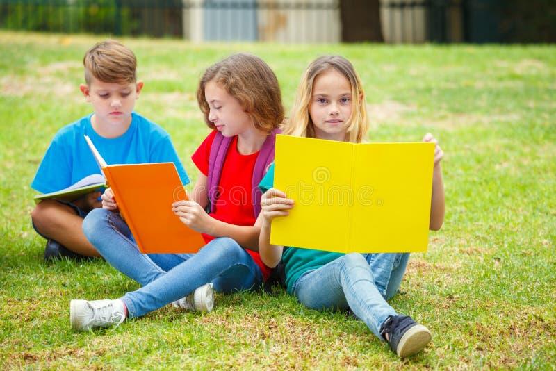 Droup de los libros de lectura de los niños en el parque foto de archivo