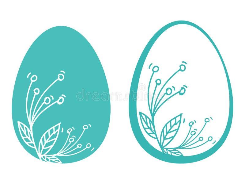 Drow de hend de carte de fleurs d'oeufs de pâques illustration de vecteur
