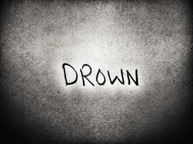 Drown english word handwritten style art on paper royalty free stock image