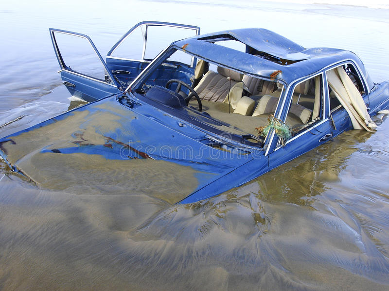 Download Drowned car stock image. Image of sand, beach, sunk, write - 26309627