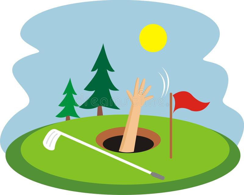 Drowned in a golf hole vector illustration