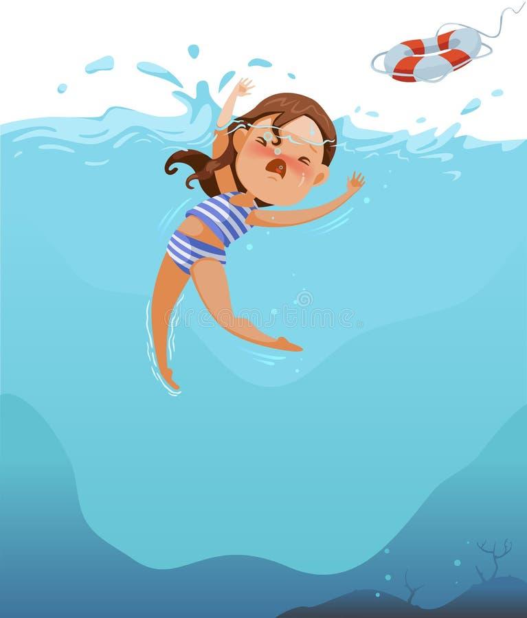 drowning stock de ilustración