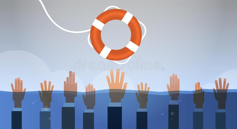 Drowning businessmen hands in water getting one lifebuoy helping business to survive support rescue concept horizontal. Vector illustration royalty free illustration