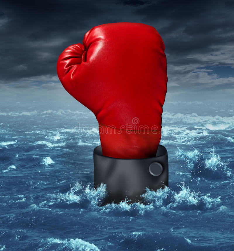 Drowning The Competition. Business concept with the hand of a businessman wearing a red boxing glove reaching up struggling to survive in turbulent ocean water royalty free illustration