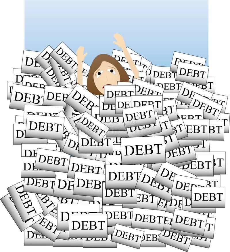 Drowning in Debt stock illustration