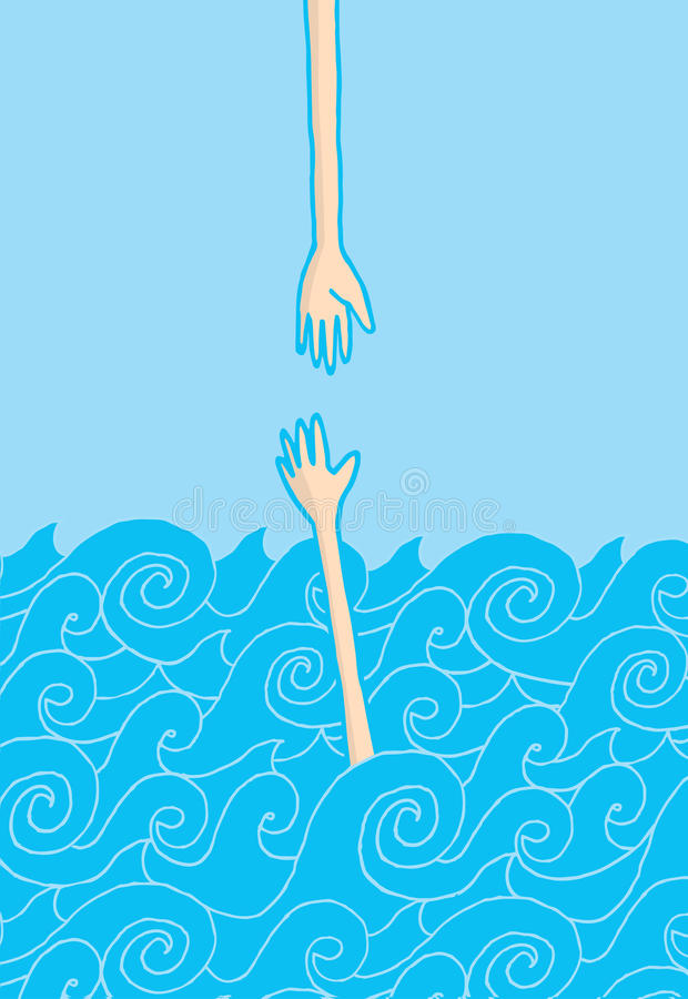 Download Drowning Man Reaching Out Hand Stock Vector - Illustration of drawing, blue: 39511359