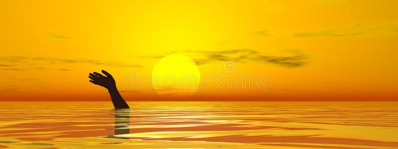 Drowning man`s hand in sea or ocean - 3D render stock illustration