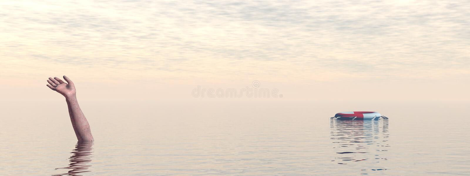 Drowning man`s hand in sea or ocean - 3D render royalty free illustration