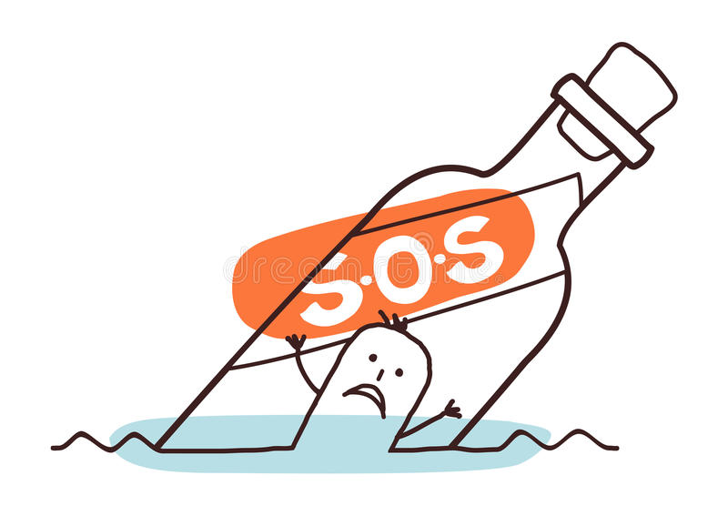 Drowning man in a S.O.S bottle stock illustration