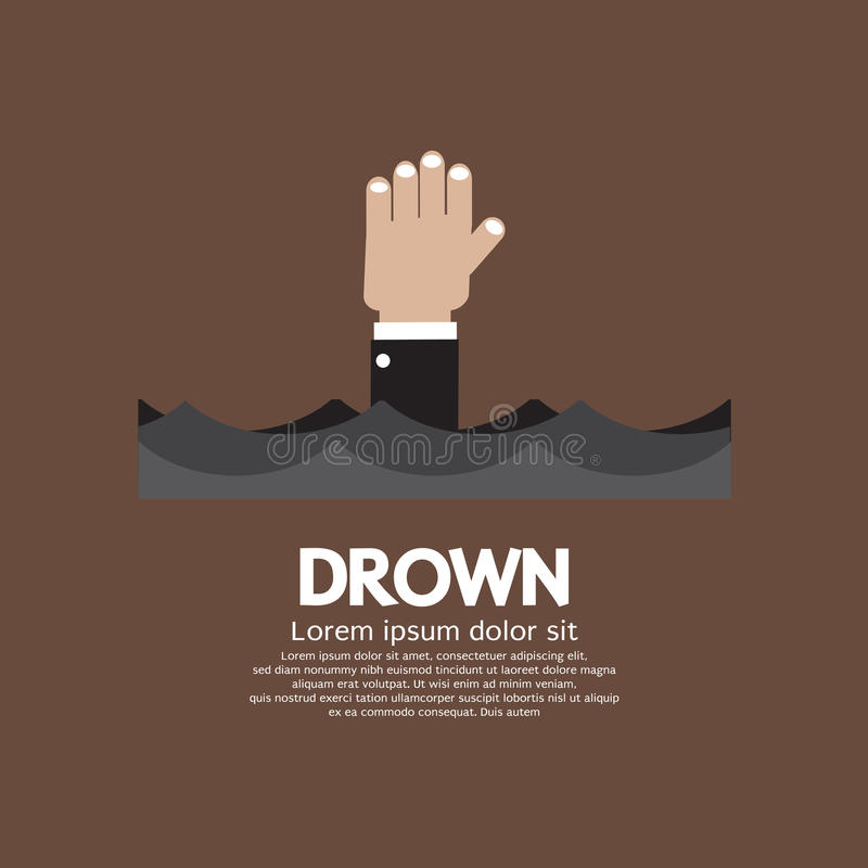 Drowning Man Showing His Hand Over The Water stock illustration