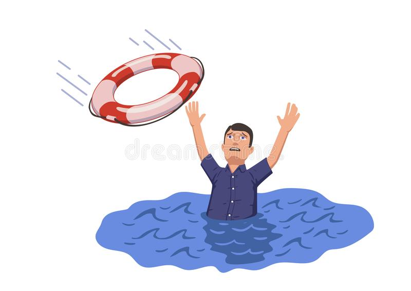 Drowning man sticking out of the water trying to catch lifebuoy. Safety and urgent help. Resque needed. Flat vector. Illustration. Isolated on white background vector illustration