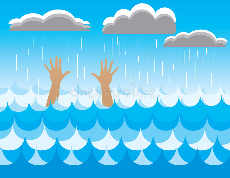 Drowning Person Stock Illustration