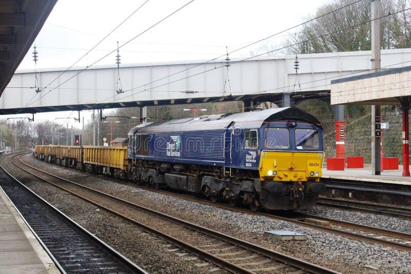 DRS liveried class 66 diesel locomotive Lancaster stock images
