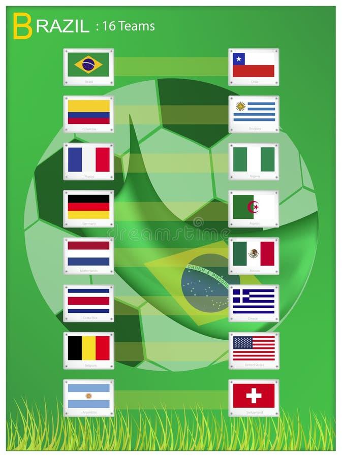 16 drużyn piłka nożna turniej w Brazylia 2014 royalty ilustracja