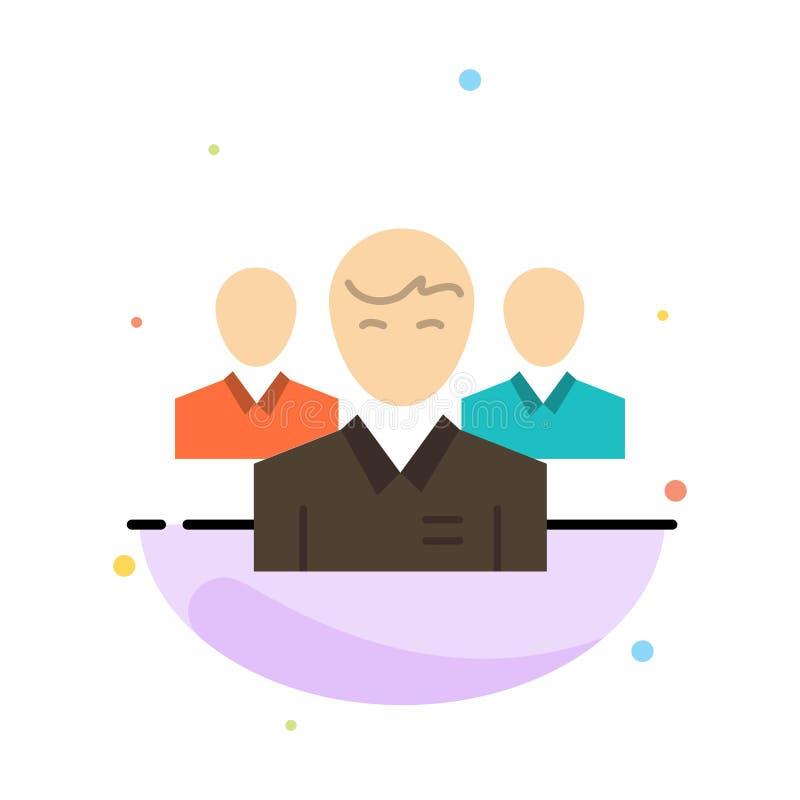 Drużyna, biznes, Ceo, kierownictwo, lider, przywódctwo, osoba koloru ikony Abstrakcjonistyczny Płaski szablon ilustracja wektor