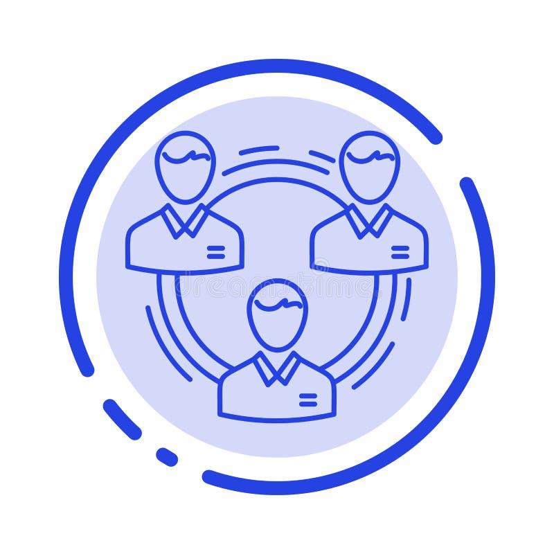 Drużyna, biznes, komunikacja, hierarchia, ludzie, socjalny, Konstruuje błękit Kropkującą linii linii ikonę royalty ilustracja