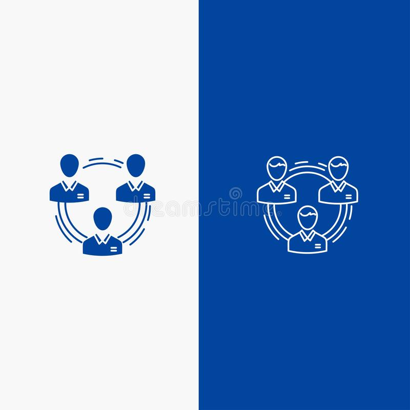 Drużyna, biznes, komunikacja, hierarchia, ludzie, socjalny, Stałej ikony sztandaru Błękitna linia, glif bryła, struktury linii i  royalty ilustracja