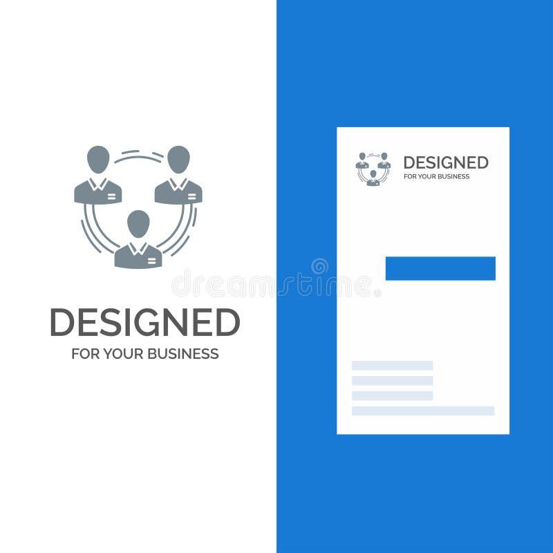 Drużyna, biznes, komunikacja, hierarchia, ludzie, socjalny, struktura logo Popielaty projekt i wizytówka szablon, royalty ilustracja