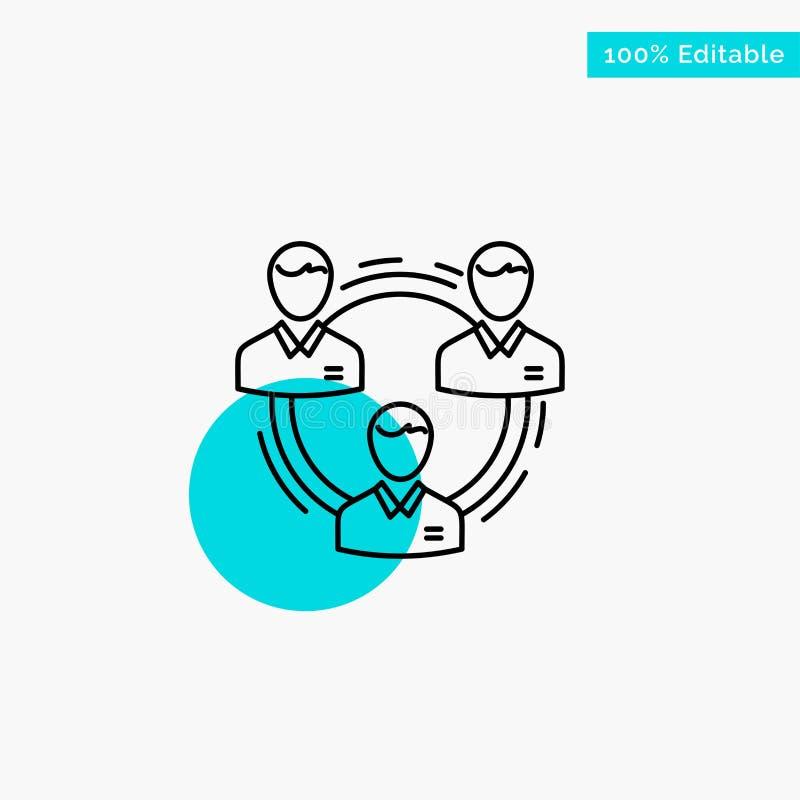 Drużyna, biznes, komunikacja, hierarchia, ludzie, socjalny, struktury głównej atrakcji okręgu punktu wektoru turkusowa ikona ilustracja wektor