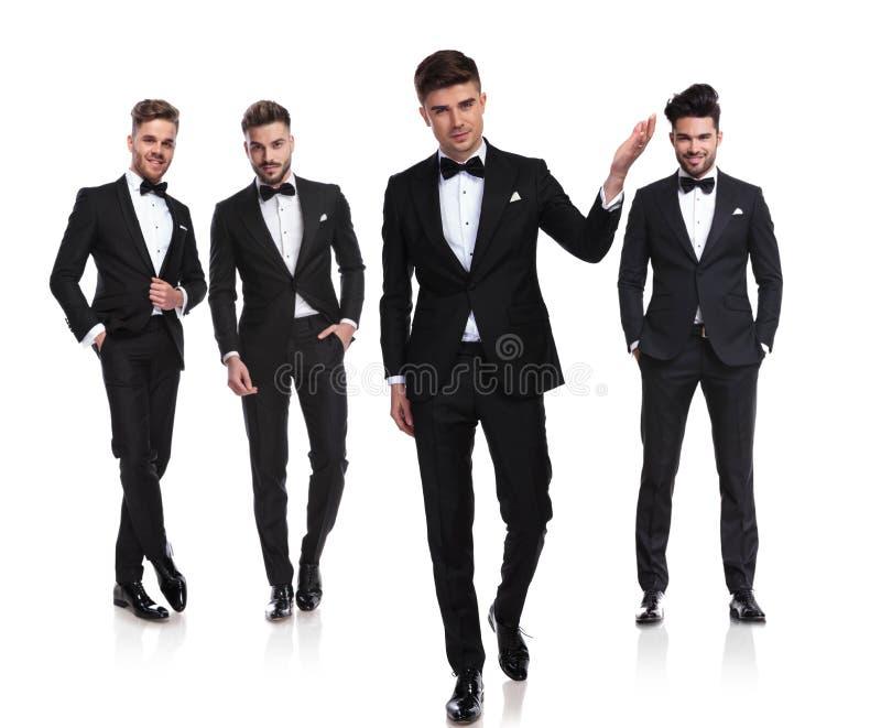 Drużyna cztery dżentelmenu z liderem zaprasza ciebie poślubiać obrazy royalty free