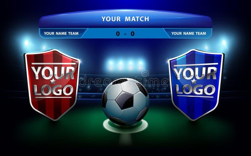 Drużyna futbolowa z tablicą wyników na zieleni stadium i pola tle ilustracji
