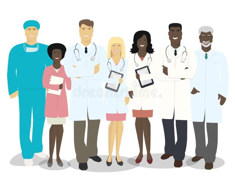Drużyna lekarki i medyczny personel odizolowywający na białym backgrou ilustracja wektor