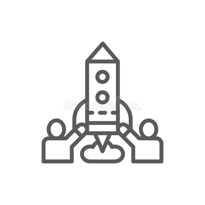 Drużyna ludzie wszczyna rakietę, rozpoczęcie kreskowa ikona ilustracja wektor