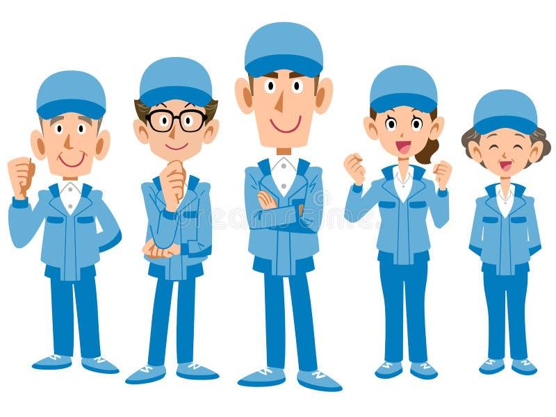 Drużyna prac pięcioliniowi jest ubranym błękitni pracujący ubrania royalty ilustracja