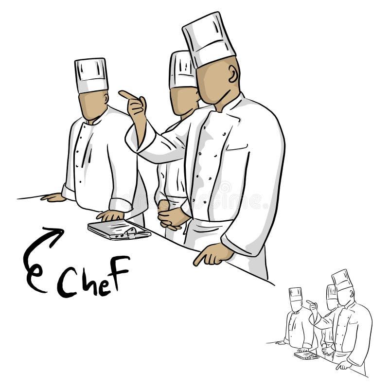 Drużyna szefów kuchni ludzie w kuchennym wektorowym ilustracyjnym nakreślenia dood ilustracji