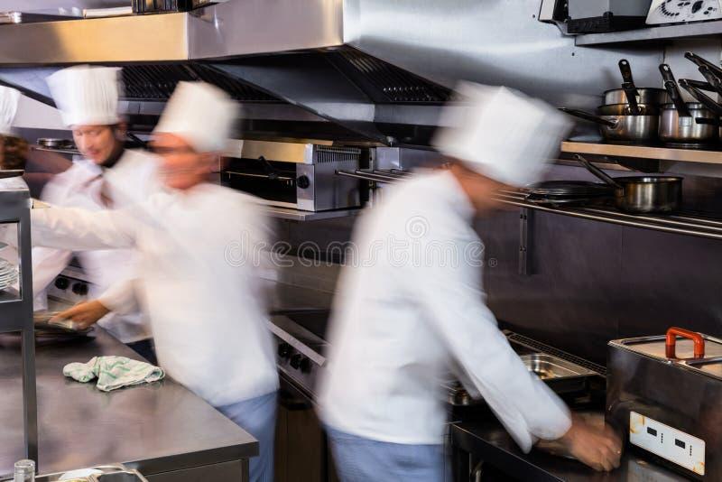 Drużyna szefowie kuchni przygotowywa jedzenie w kuchni obrazy stock