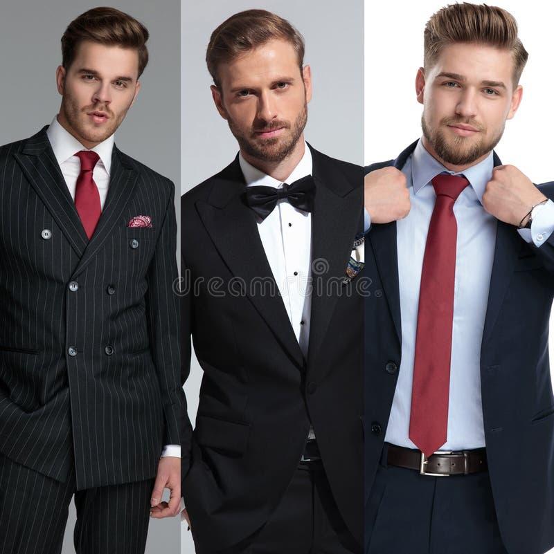 Drużyna trzy succsessful mężczyzny pozuje w kolażu wizerunku zdjęcie royalty free