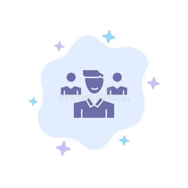 Drużyna, użytkownik, kierownik, oddział Błękitna ikona na abstrakt chmury tle ilustracji