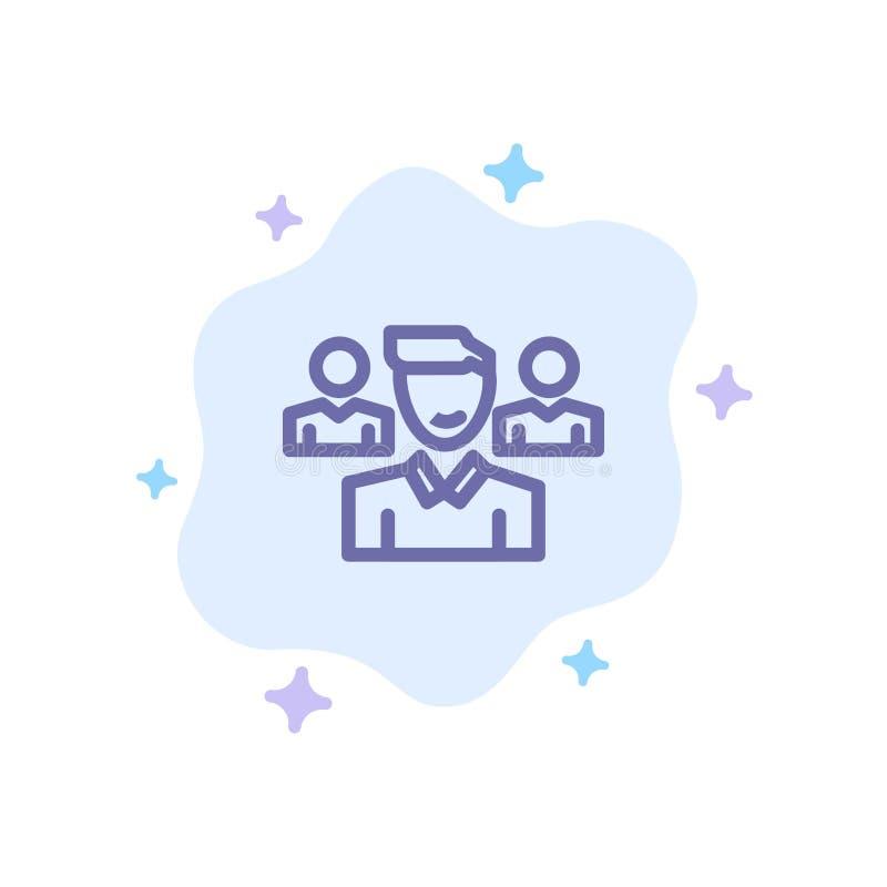 Drużyna, użytkownik, kierownik, oddział Błękitna ikona na abstrakt chmury tle royalty ilustracja