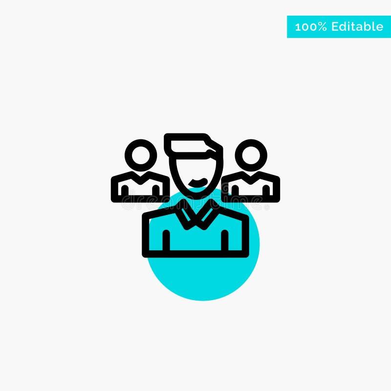 Drużyna, użytkownik, kierownik, oddział głównej atrakcji okręgu punktu wektoru turkusowa ikona ilustracji
