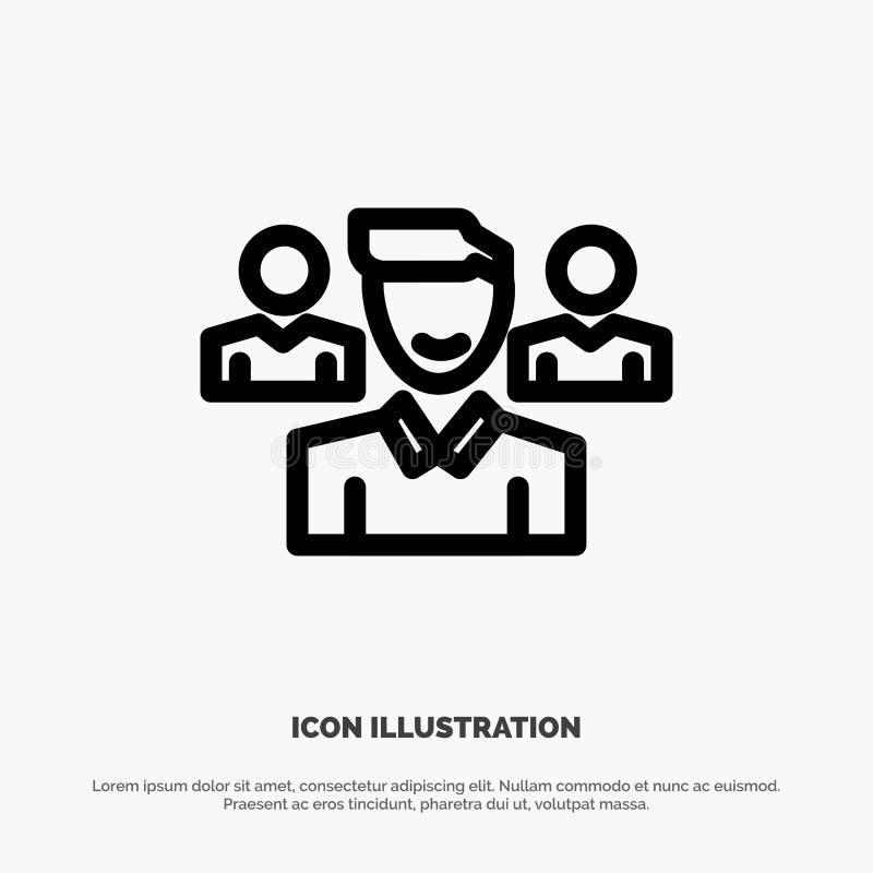 Drużyna, użytkownik, kierownik, oddział ikony Kreskowy wektor ilustracja wektor