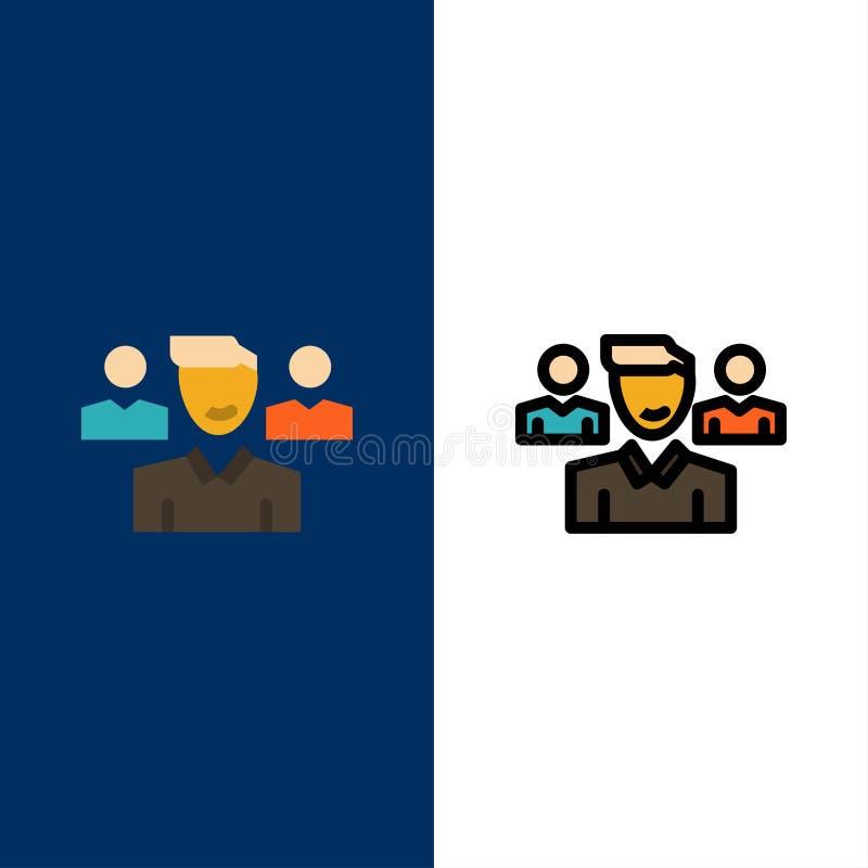 Drużyna, użytkownik, kierownik, oddział ikony Mieszkanie i linia Wypełniający ikony Ustalony Wektorowy Błękitny tło ilustracji