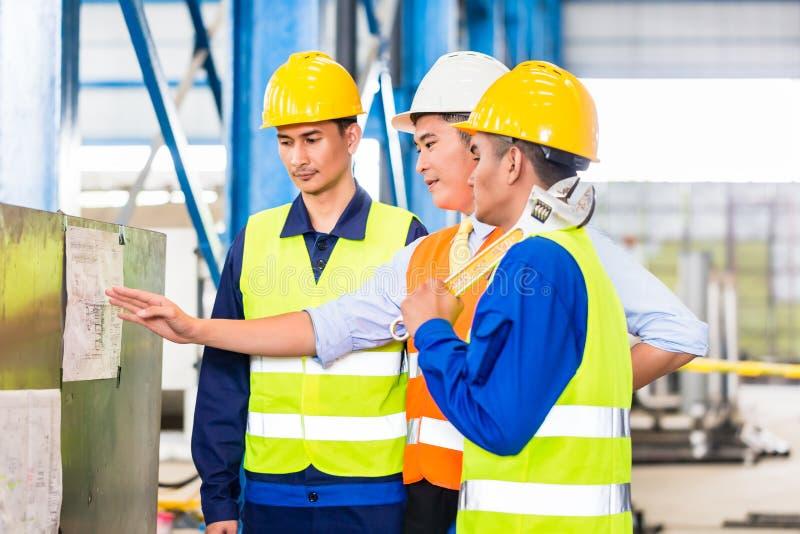 Drużyna w fabryce przy produkci szkoleniem obraz stock