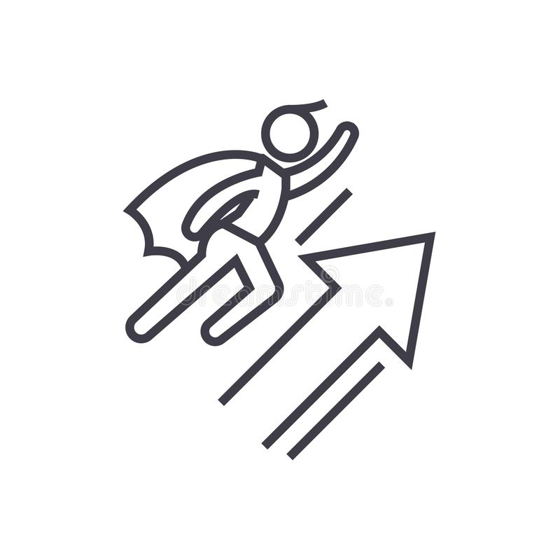 Drużynowa motywacja wektoru linii ikona, znak, ilustracja na tle, editable uderzenia ilustracji